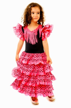 a frill: Cute Girl with typical spain dancer clothes
