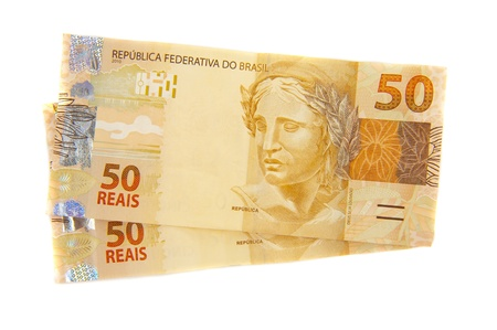 New brazilian currency - Fifty Real. Stock Photo