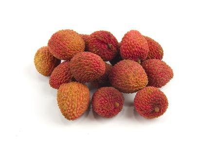 leechee: Lychee fruit isolated on white background .
