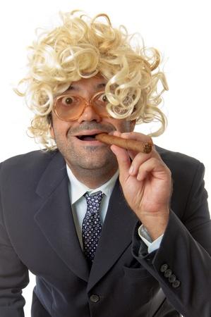 Happy Businessman smoking a cigar . Stock Photo - 8858893