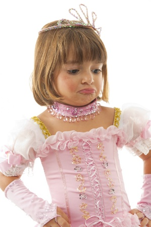 Beautiful child with princess pink clothes . photo