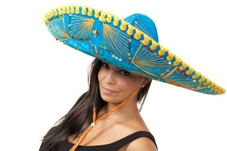 Studioaufnahme der schönen Mädchen mit mexican Hat.