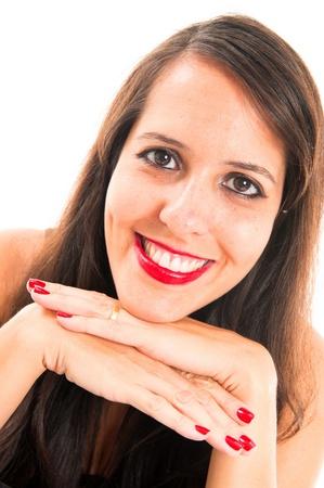 Studio Shot of Beautiful brunette woman  photo