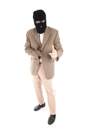 thief business man walking on white background . Stock Photo - 9994938