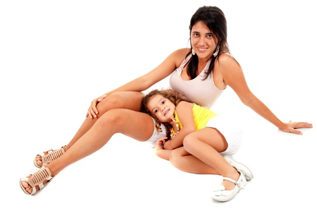 Beautiful woman and child girl on white . Stock Photo - 9994943
