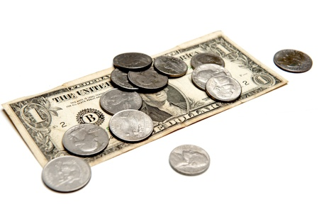 american dollar: Dollar Currency and coins over white
