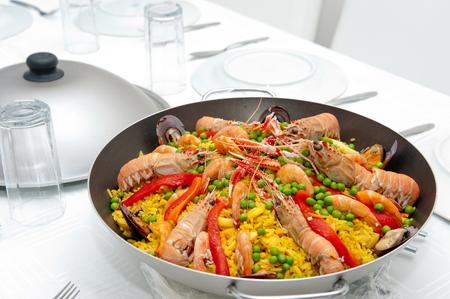Spanish Paella, sea food rice photo