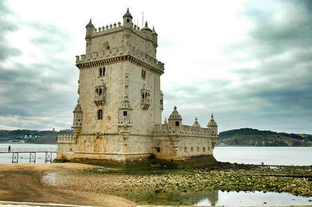 belem: Lisbon, Belem Tower landmark, Portugal . Stock Photo