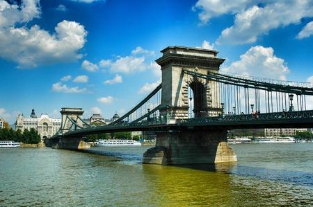 east europe: Bridge in Budapest, Hungary, East Europe . Stock Photo