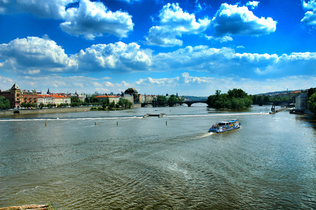 cz: River in Prague, Czech Republic