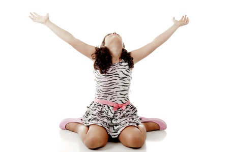 youthful: Child with open arms looking at up