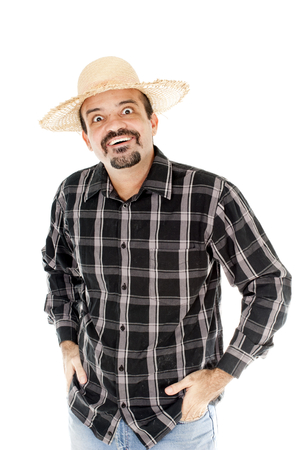hombre con sombrero: Hombre con sombrero de paja, san juan Brasil vacaciones Foto de archivo