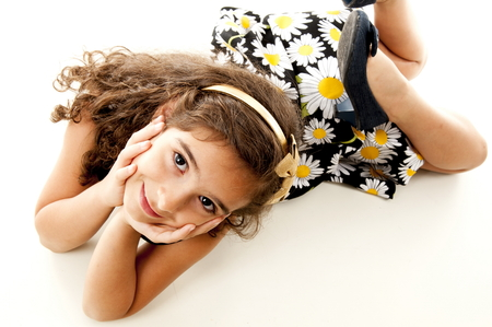 smilling: Young cute child smilling using dress Stock Photo
