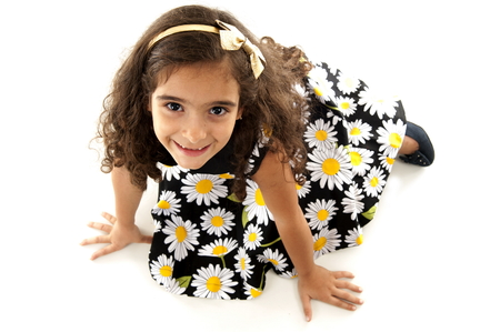 children clothing: Young cute child smilling using dress Stock Photo
