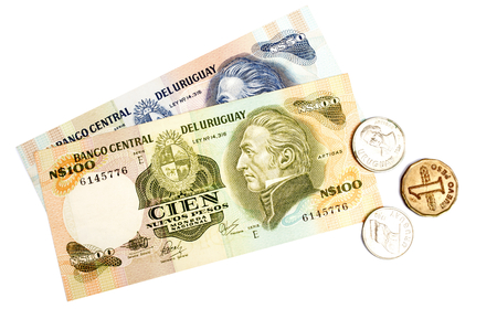 uruguay: Uruguay currency and some coins . Stock Photo