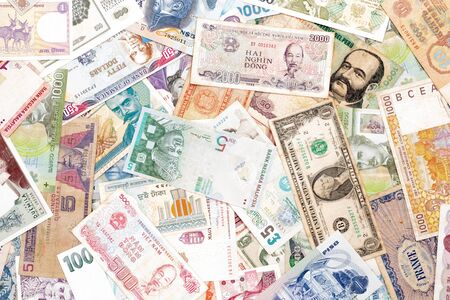 Kilka krajów świata banknoty papierowe pieniądze bankowe.