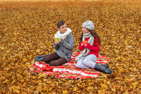 adorable teens communicate drink tea talk while sitting in a park on a plaid picnic
