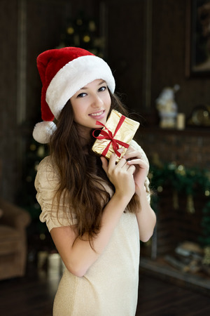 cute young girl in a Santa hat is holding a present and gently openly smiling Zdjęcie Seryjne