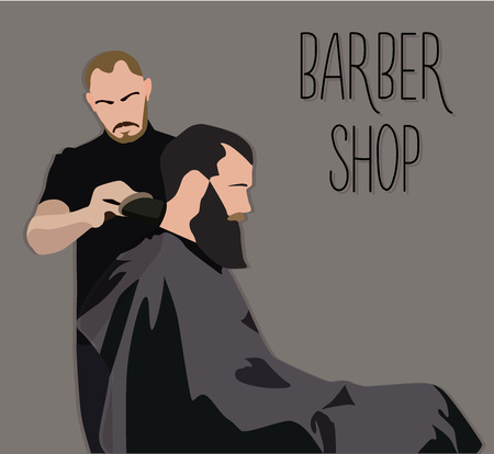 male grooming: Client visiting hairstylist in barber shop vector illustration Illustration