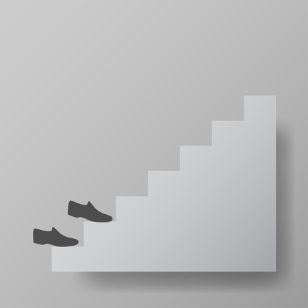 upstairs: shoes up the stairs,staircase upstairs vector illustration