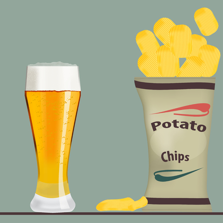 crisp: pack of chips and glass of beer vector illustration Illustration