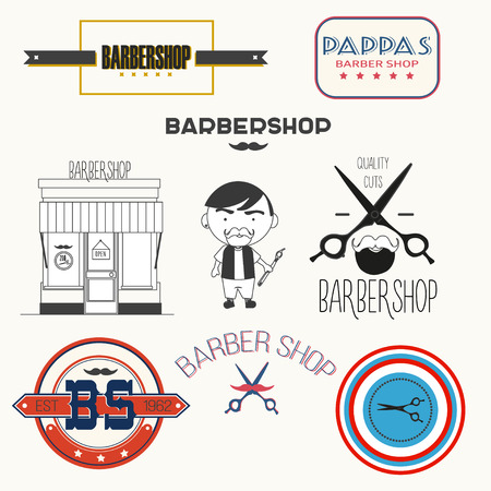 shaver: Set of vintage barber shop elements badges