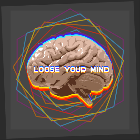 loose: loose your mind abstract concept illustration brain with geometric shapes
