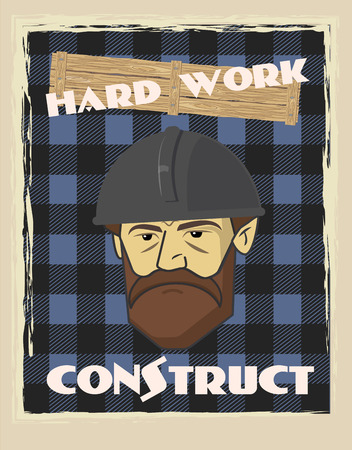 poster builder face in construction helmet with text construct work hard blue colours