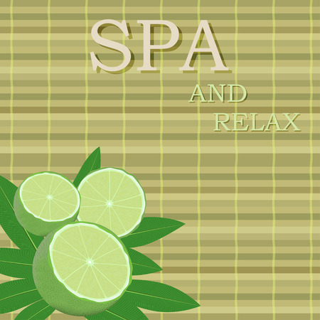 bamboo mat: spa leaves and lime in a corner on a bamboo mat background with text
