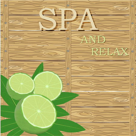 spa still life: spa leaves and lime in a corner on wood surface background with text Illustration