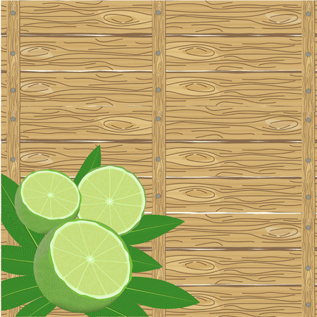 wood surface: spa leaves and lime in a corner on wood surface background Illustration