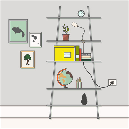 living room wall: room wall. Shelves with objects. Pictures on the wallI.Interior of a living room. Modern flat design. Flat design interior Illustration