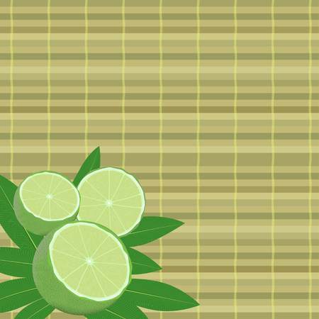 bamboo mat: spa leaves and lime in a corner on a bamboo mat background