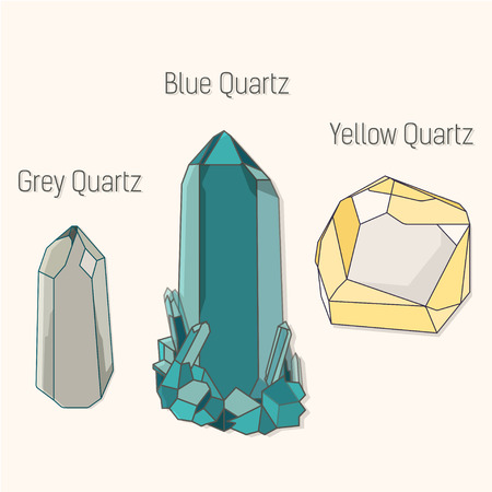 mineral: Crystal quartz mineral set. Crystal quartz mineral flat icons set vector.Crystal quartz mineral symbol. Crystal quartz mineral bottom. Crystal quartz mineral
