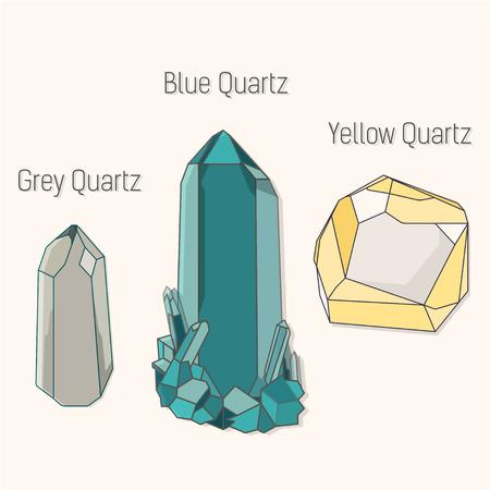 quartz: Crystal quartz mineral set. Crystal quartz mineral flat icons set vector.Crystal quartz mineral symbol. Crystal quartz mineral bottom. Crystal quartz mineral