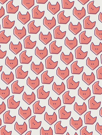 fox face: fox face pattern. Cute fox texture.  Colour fox decor background. Fox banner. Fox face title. Illustration