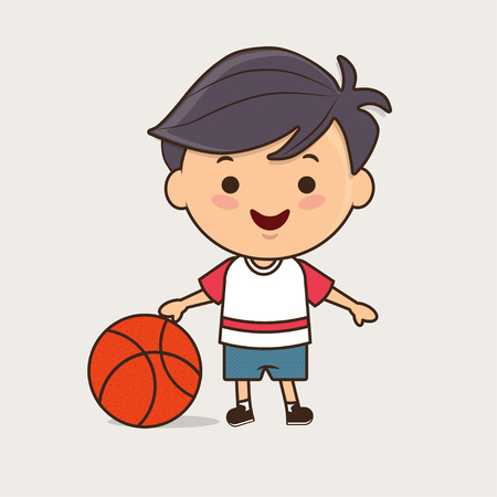 sportswear: young boy in sportswear and basketball smiling cute character isolated illustration