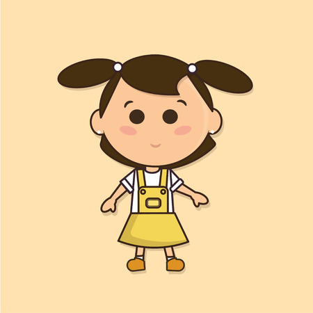 amazement: young teen girl funny cute character in a yellow skirt standing and looking in amazement isolated illustration