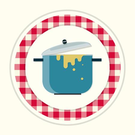 stew pot: Cooking pot icon. Cooking pot symbol.  Cooking pot bottom. Cooking pot  .  Cooking pot emblem. Cooking pot label. Cooking pot badge. Illustration