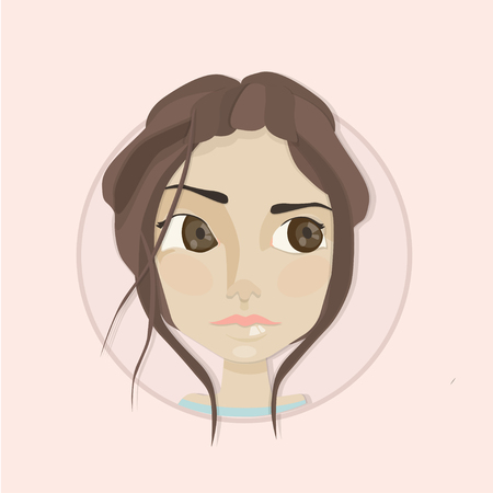 sad teenage girl: cute young girl with big brown eyes portrait. Woman face. Young girl face. Fashion girl face Illustration