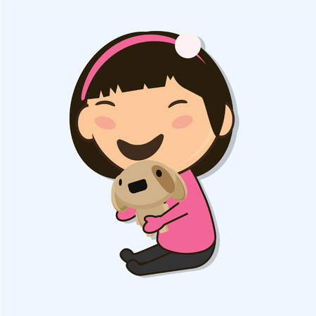 laughs: little Asian girl holding a toy dog in hands and laughs isolated characer illustration. Asian character Illustration