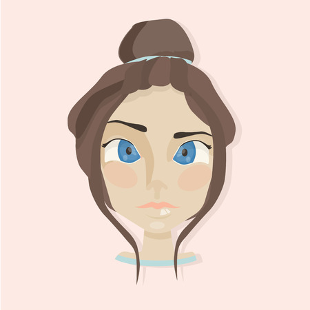 sad teenage girl: cute young girl with big blue eyes portrait. Woman face. Young girl face. Fashion girl face. Illustration