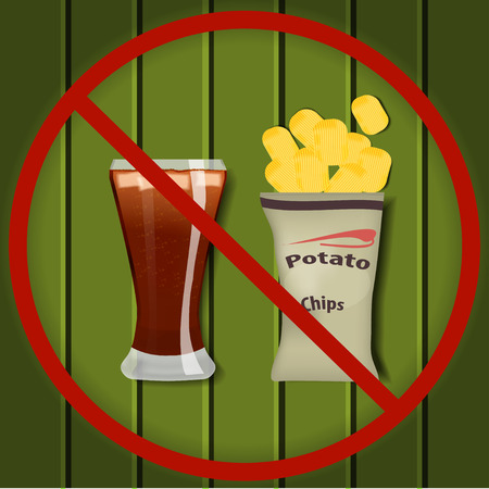 no food: No fast food. Glass of cola with ice and a packet of potato chips in a red slashed circle on a wooden surface. No fast food illustration. No fast food background. No fast food realistic image