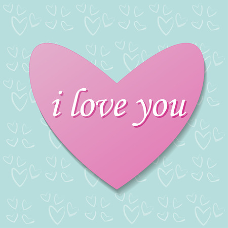 i love you heart: pink heart on a background pattern. Heart gift card with text i love you. Heart illustration. Heart bacground. Heart image.  Heart picture. Heart wallpaper. Heart card Illustration