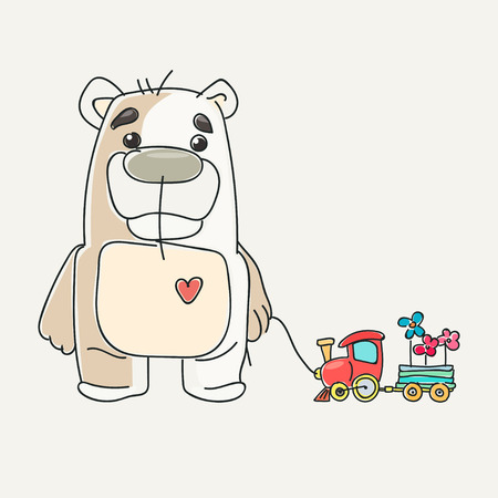 friend  nobody: funny cute teddy bear with a heart and a toy machine. Print design. illustration. Cartoon style