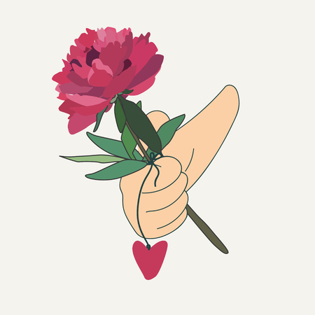 hand holding flower: hand holding a red flower with leaves and amulet in the form of heart on a string. Print design. illustration. Cartoon style Illustration