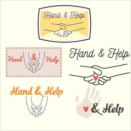 manos estrechadas: Establecer imagen de apretones de manos y las manos que sostienen el coraz�n de las l�neas finas con el texto. Relaciones personas ilustraci�n
