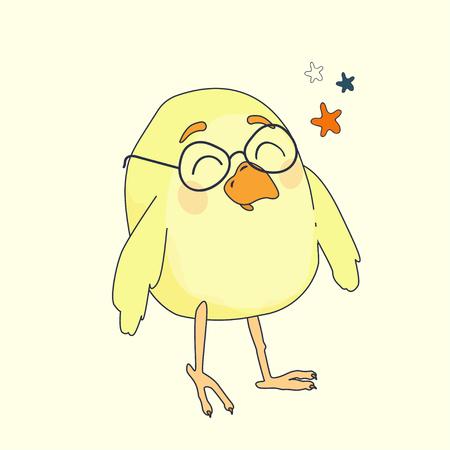 gazing: small yellow cartoon bird with glasses