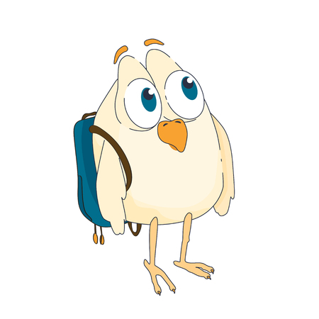 big eyes: funny little bird with big eyes and a backpack on his back Illustration