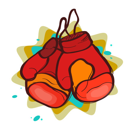 boxing gloves: two red boxing gloves on an abstract background Illustration
